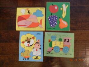 Lot of 4 VTG tray wood Playskool puzzles Locomotive 330-2 155AN-15 330-26 275-21