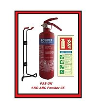 1 KG POWDER ABC FIRE EXTINGUISHER HOME OFFICE CAR KITCHEN ID SIGN WALL BRACKET