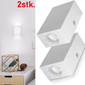 2x 2W LED Wandleuchte Wandlampe Flur Strahler Licht Up Down Innen Modern Leuchte