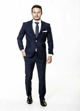 Slim Fit Suit Mens Navy Check Designer Wholesale Price Formal Wedding
