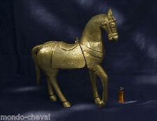 A VOIR ! GRAND CHEVAL en bois recouvert de laiton, 50 cm Inde,horse, Pferd