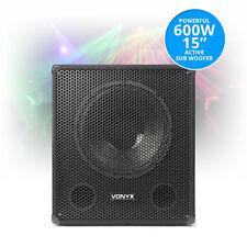 "SWA15 15"" Inch Active Powered Subwoofer Bass Bin Stage Club DJ PA Speaker 600W"