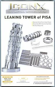 Fascinations ICONX LEANING TOWER OF PISA 3D Metal Earth Steel Model Puzzle Kit