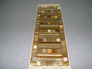 Geometric Silk Rugs Oriental Carpet Home Décor  2'x6' Striped Corridor Floor Mat