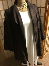 Eileen Fisher Woman Brown Moiré Blazer JACKET Kimono OPEN FRONT Sz 3X LK NW Nice