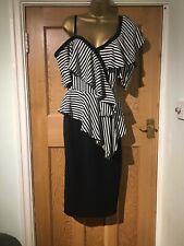 BNWT Very Dress Size 16 Monochrome Ruffle Layered Straight Black & White Stripe