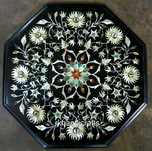15 Inches Octagon Marble Coffee Table Top with Elegant Pattern Patio Side Table