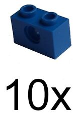Lego 10 Blue Technical Stones 1x2 with Hole (3700) New Stones in Blue