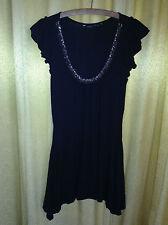 Black Tunic Mini Dress Ruffled Cap Sleeve Silver Beading Necklace Detail Size 12
