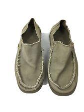 Crocs Santa Cruz Mens Size 11M Loafers Khaki Boat Shoes Canvas Slip On