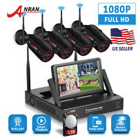 """ANRAN 4CH 1080P Wireless Security Camera System IP Outdoor 2MP 7""""Monitor NVR 1TB"""