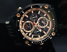 Mens Bulova 98B181 Precisionist Chrono Date Rose Gold Rubber Wrist 47mm Watch