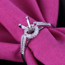 Round 5-5.5mm 0.2CT Diamond Semi Mount Ring Setting Solid 10k White Gold Jewelry