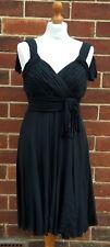 KAREN MILLEN Black Strappy Ladies Little Black Dress Size UK 14 Silk Shell
