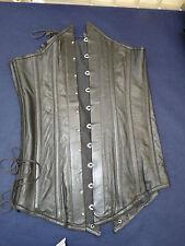"""black leather 14 full body heavy steel boned corset 25"""" long TV wow"""