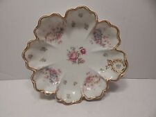 HAVILAND LIMOGES FRANCE FLORAL SERVING BOWL W/ PINK ROSES IN SCHLEIGER #72