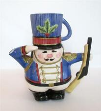 Fitz & Floyd Soldier Teapot with Mug Christmas Nutcracker Snack Therapy