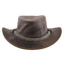 AUSTRALIA Herren Western Cowboy Reiten Leder Hut TEXAS Antique Grey Größe M