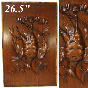 """Antique Victorian Black Forest Style 26.5"""" Furniture or Cabinet Panel, Plaque"""