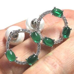 Gorgeous Green Oval Emerald Akoya Pearl Stud Earrings 14K Gold Plate Nickel Free