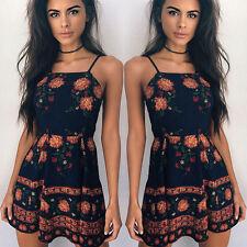 Women Holiday Mini Dress Summer Halter Beachwear Sleeveless Printed Boho Dresses