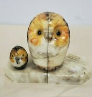 Vintage OWLS HAND CARVED SOLID ALABASTER MARBLE STONE BOOKENDS