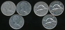 Canada, Group of 3 Elizabeth II 5 Cent Coins (1973, 1974, 1975) - Fine
