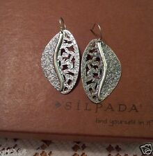 Silpada .925 Sterling Silver Textured Leaf Cut Out Earrings Retired W1979