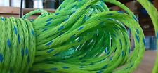 New listing 1/4 x 165 ft. hank of Hollow Braid Polypropylene Rope. Lime/blue