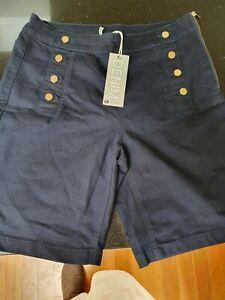 Rockmans Dark Denim Sailor Short Nautical Dark Wash  Stretch Size 8 rrp $44.99