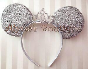 Minnie Mouse Ears Headband Silver Princess Rhinestone Tiara Bridal Shower Cute