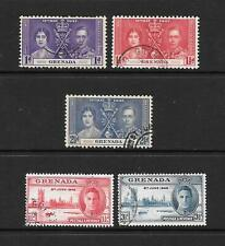 1937 King George VI Coronation & Victory sets 5 stamps Fine Used  GRENADA