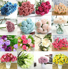 MANY HEADS ROSE BOUQUET FAKE SILK FLOWER PARTY HOME WEDDING FLORAL DECOR CHIC