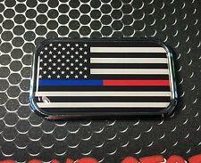 "THIN RED BLUE LINE Domed CHROME Emblem Proud USA  Flag Car Sticker 3D 3""x 1.8"""