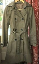 Zara Khaki Raincoat Mac.Trench Coat Size 10 With Removable Quilted Lining
