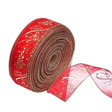 1 Roll Wired Edge Christmas Ribbon Packaging Decoration Craft Gift Present XU