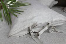 Natural Linen Pillowcase with Ties- Standard, Queen, King, Euro Sham