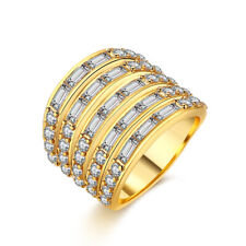Fashion Womens Elegant Gold Plated CZ Crystal Vogue Ring Size 7-8 #DR103