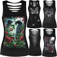 Women 3D Printed Sleeveless Tank Tops O-Neck Vest Casual Blouse Black Tee Vest