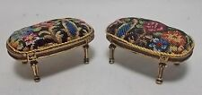 Dollhouse miniature Artisan Pair Bespaq Footstools / Antique Petit point (r5)