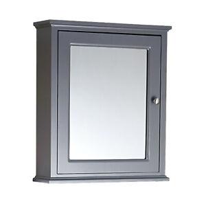 ENKI MC006 Bathroom Cabinet Mirror Cabinet Wall Mount Cupboard Storage Unit Grey