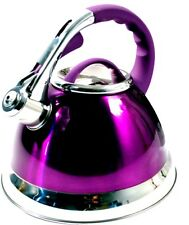 DEEP PURPLE MAUVE Kettle whistling stove kitchen hobLARGE 3.5ltr stainless steel