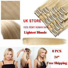 """24"""" 8X CLEARANCE Clip in Human Hair Extensions Full Head 100% Real Remy Hair UK"""