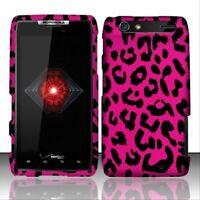 Design Rubberized Hard Case for Motorola Droid RAZR XT912 - Pink Leopard