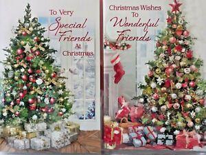 FRIENDS CHRISTMAS CARD ~ CHOICE OF 2 TREE DESIGNS QUALITY CARD & NICE VERSE