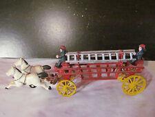 "Vintage Cast Iron Horse Drawn Firetruck Taiwan 16"""