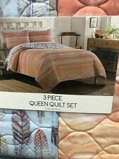 Aztec 3 Piece Queen Quilt Set  Zensa Feather. New With Tags