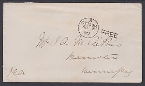 Canada, 1880 Stampless Cover, black Ottawa P.O. Government Free Postmark