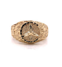 10k Solid Yellow Gold Mercedes Benz Logo Mens Pinky Ring