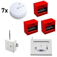 7 x Wireless Smoke Detector Set with Fire Alarm System wireless breakglass